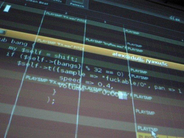 Kunst bag taster: Fra live coding performance. Illustration fra bogen.