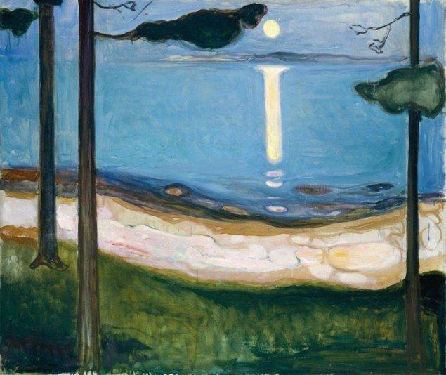 Edvard Munch, Måneskin, 1895, Nasjonalmuseet for kunst, arkitektur og design, Oslo. Fra udstillingen Verden som landskab. Nordisk landskabsmaleri 1840-1910.