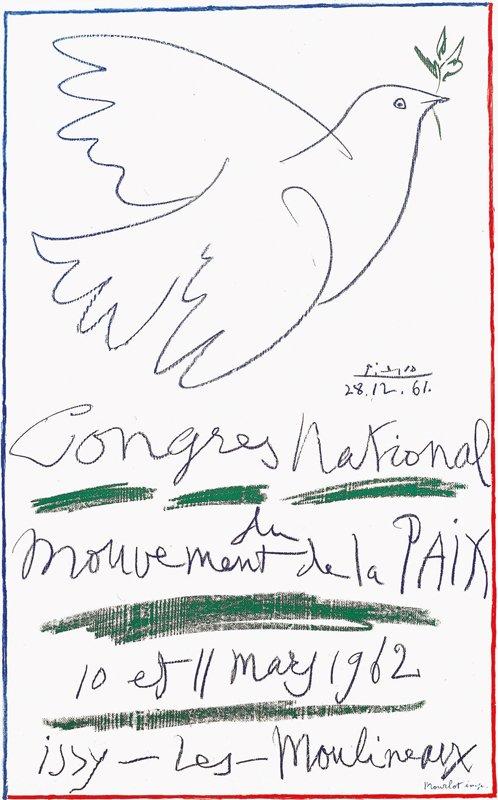 Pablo Picasso: Nationalkongres for fredsbevægelsen, (med Picassos litografi Due med olivengren 28.12.1961)  1961/1962. (Foto: Collection Gérard Gosselin © Succession Picasso).