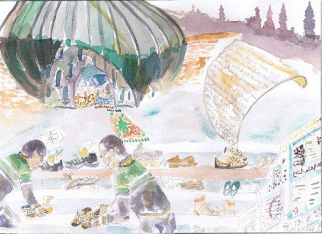 Akvarel fra det igangværende projekt In Your Shoes, 2010. (Pressefoto)
