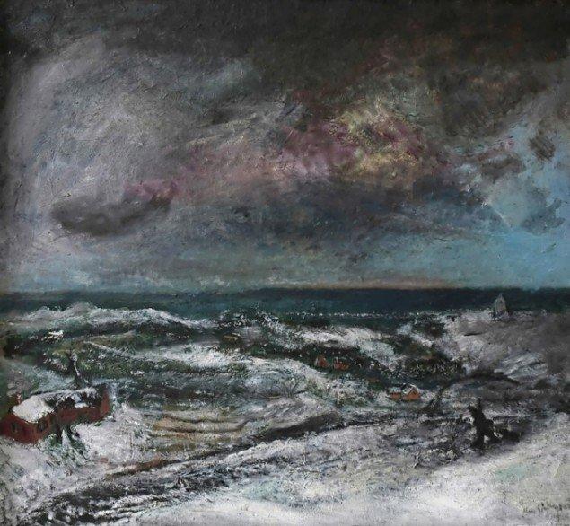 Jens Søndergaard Vinterlandskab. 1927. Foto: Museet for Thy og Vester Hanherred.