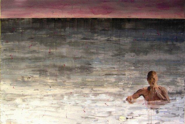 Andreas Golder: Plumrede vande, olie og lak på bomuld, 200 x 300 cm., 2006. Foto: Arken.
