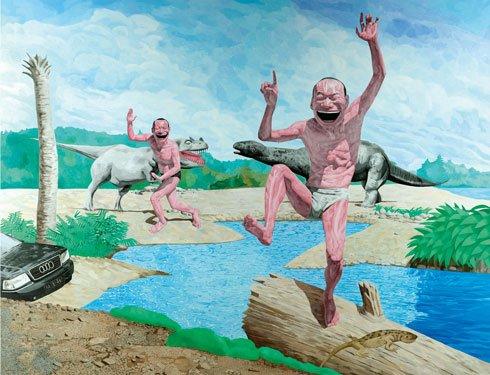 Yue Minjun er ikke mindst kendt for sine malerier af storgrinende mennesker. Pressefoto..