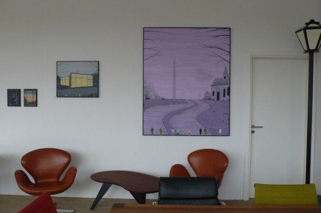 DAMP III/Kast Furniture. Oliemalerier (og installation) af Rasmus Bjørn. Foto: Lena Johansen.