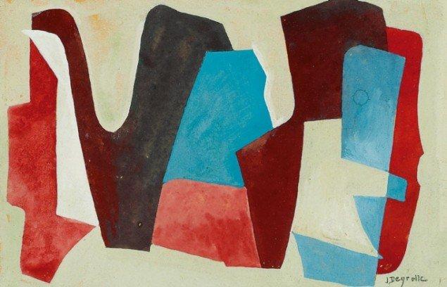 Jean Deyrolle: Den ene af to kompositioner. Signeret. Gouache på papir. Hver 10 x 16 cm. Samlet vurdering: DKK 12.000.