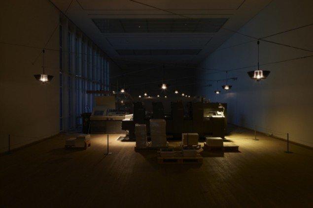 Blackout præsenterede blandt andet et arbejdende værksted, hvor de besøgende kunne følge en trykkerimaskines arbejde. En udstilling, der skulle påvirke de besøgende. Foto: Torben Eskerod.