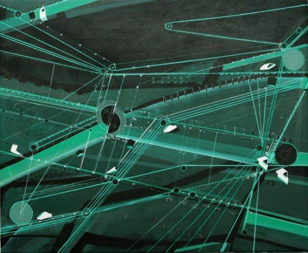 Jes Fomsgaard: Green Navigation (115x140cm). Foto: Vejle Kunstmuseum