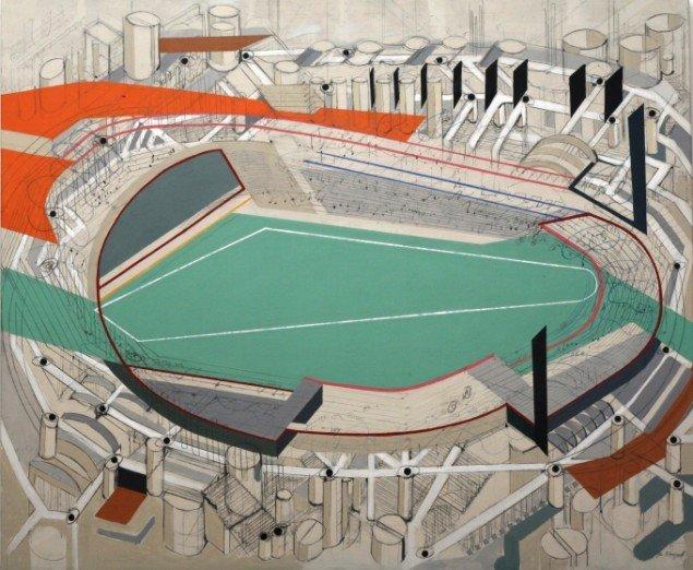 Jes Fomsgaard: Stadium (150x180cm). Foto: Vejle Kunstmuseum