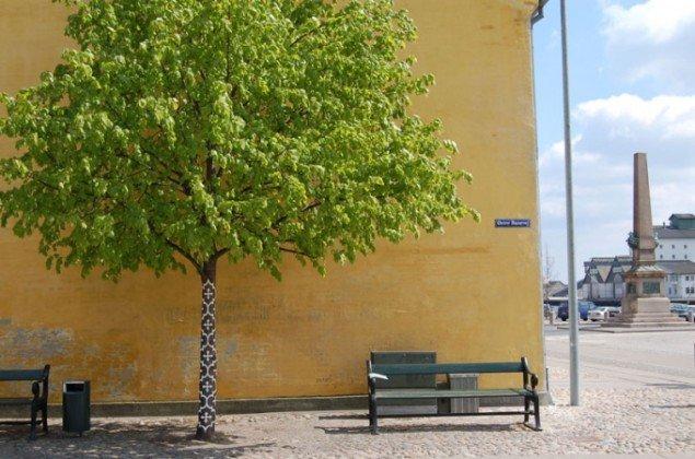 Josefine Günschel (D): Here + There. Hvid træbeskyttelse malet på to træer, Søndre Havn. (Foto: Lis Ella Fruervang)