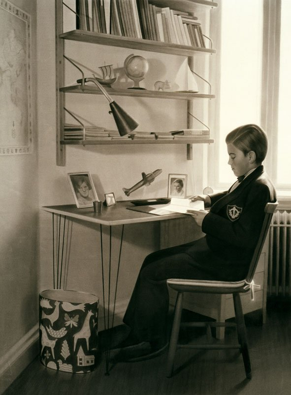 Gunnel Wåhlstrand: Skrivbordet, 2004. Tusch på papir 206 x 157 cm Foto: Björn Larsson