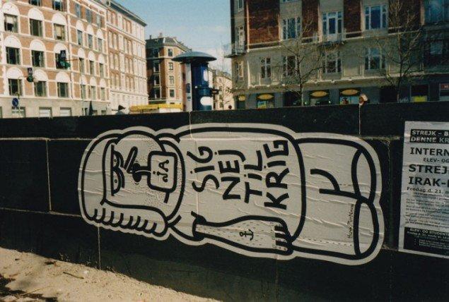 Sig nej til krig, Paste-up af HuskMitNavn. (Foto: HuskMitNavn og Dansk gadekunst)