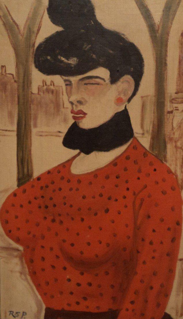 Storm P.'s portræt af en ung dame på boulevarden. Foto: Ulrik Eskekilde Nissen. © Storm P. Museet.