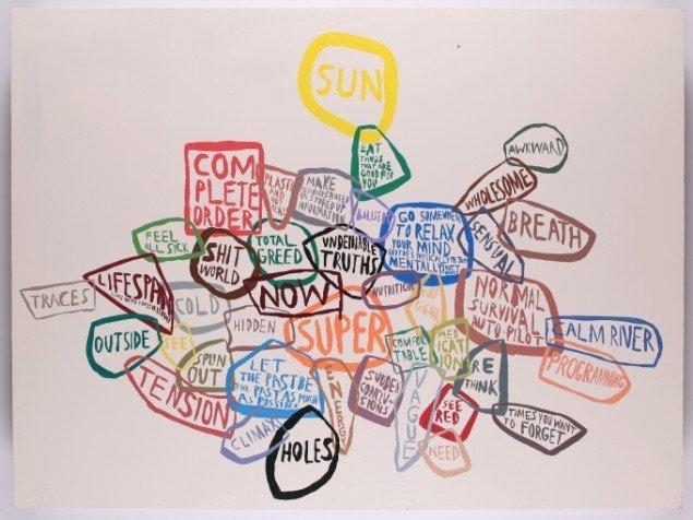 Chris Johanson: Uden titel, 2002, 122 x 152 cm, acryl på træ. Pressefoto.