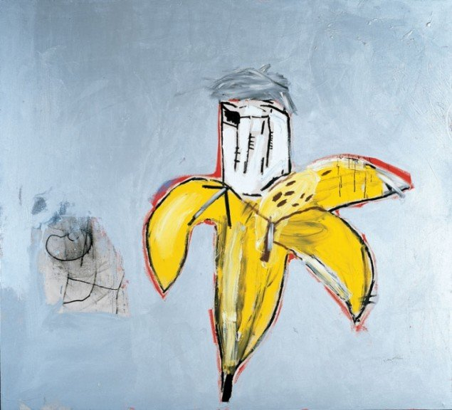 Jean-Michel Basquiat, Brown Spots (Portrait of Andy Warhol as a Banana), 1984. (Pressefoto)