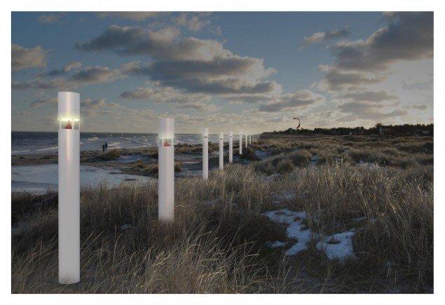 Elle-Mie Ejdrup Hansens lysskulpturer ved Grenå. Foto: Elle-Mie Ejdrup Hansen.