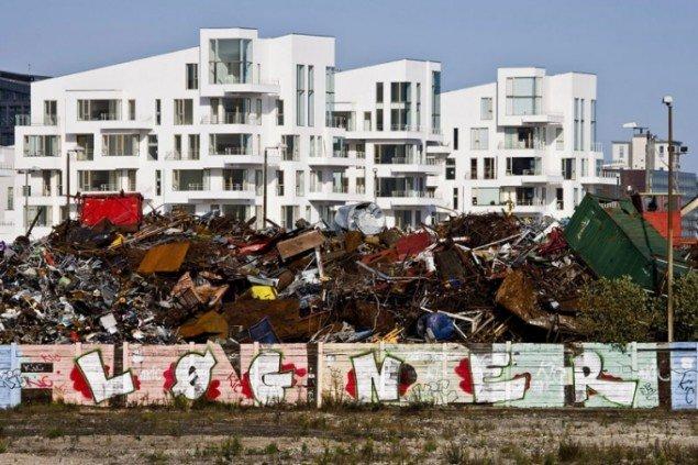Havneholmen, set fra Enghave Brygge, tirsdag d. 6. oktober 2009, kl. 14:30. (Foto: Kontraframe)