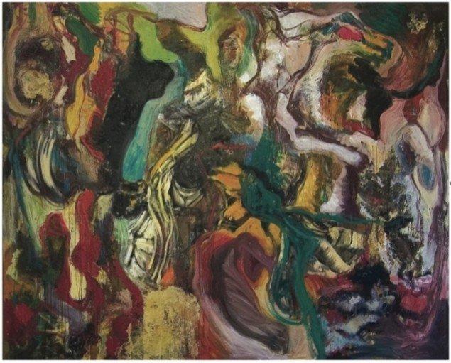 Lars Nørgård: Elefantens bløde fodspor, 270 x 350 cm, akryl, kattegrus, olie og lak på lærred, 1990. Pressefoto.