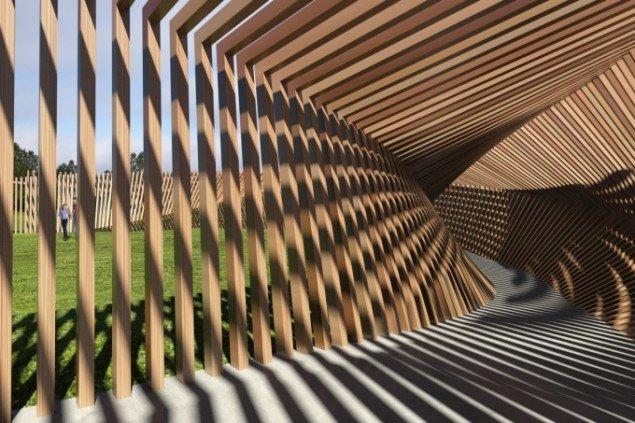 Hjallerup: Thilo Frank vandt med sit forslag til en stor, interaktiv træskulptur, der gengiver sine beskueres lyde, når de går igennem den. Foto: Thilo Frank.
