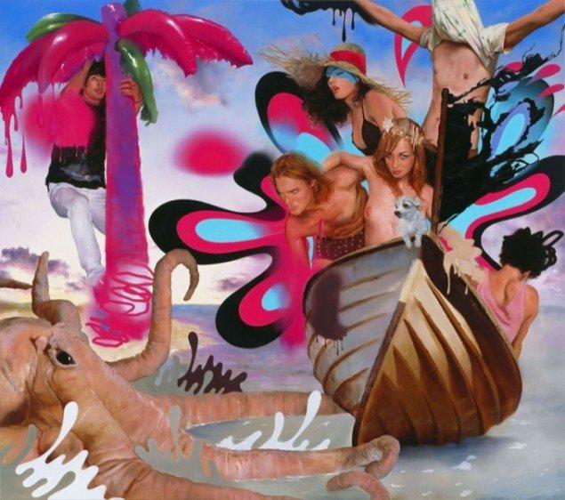 Asgar & Gabriel: scaring the fish, 2008, olie på lærred, 220 x 250 cm. Pressefoto.