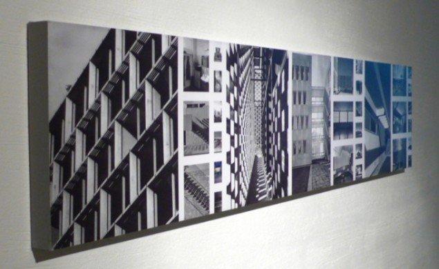 Sort/hvide rektangulære plancher med detaljestudier fra Marcel Breuers bygningsfacader. Foto: Lea Kirstine Møller.