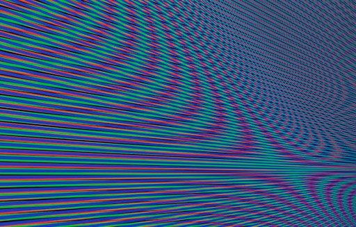 Jesper Carlsen: Moiré (RGB-print), 2009, til udstillingen Effects on Consciousness på Martin Asbæk Gallery. Pressefoto.
