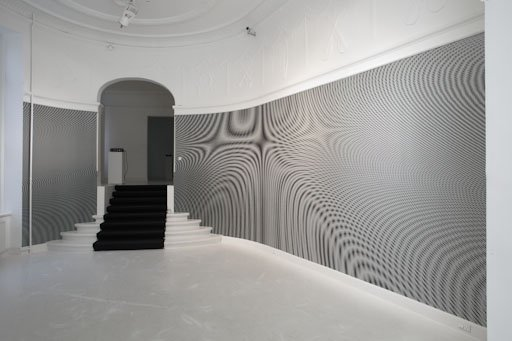 installation view: Moiré (Wallpaper), 2009, fra udstillingen Effects on Consciousness på Martin Asbæk Gallery. Pressefoto.