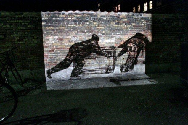 Tegning som dia slide projektion. København, 2010. Pressefoto.