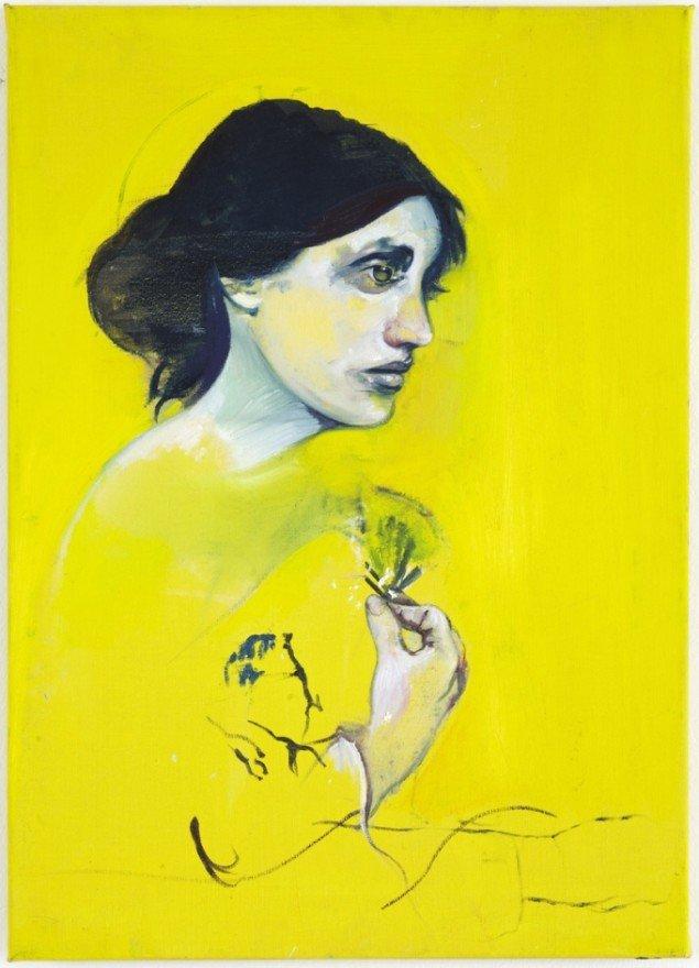 Cathrine Raben Davidsen: Stolen Language, 2009, 70 x 50 cm, olie på lærred. Pressefoto.