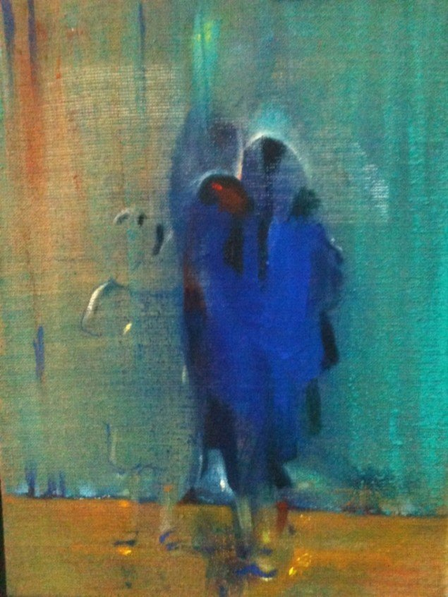 Cathrine Raben Davidsen: Show, 2011, 40 x 30 cm, olie, pigment på hørlærred. Foto: Anders Sune Berg.