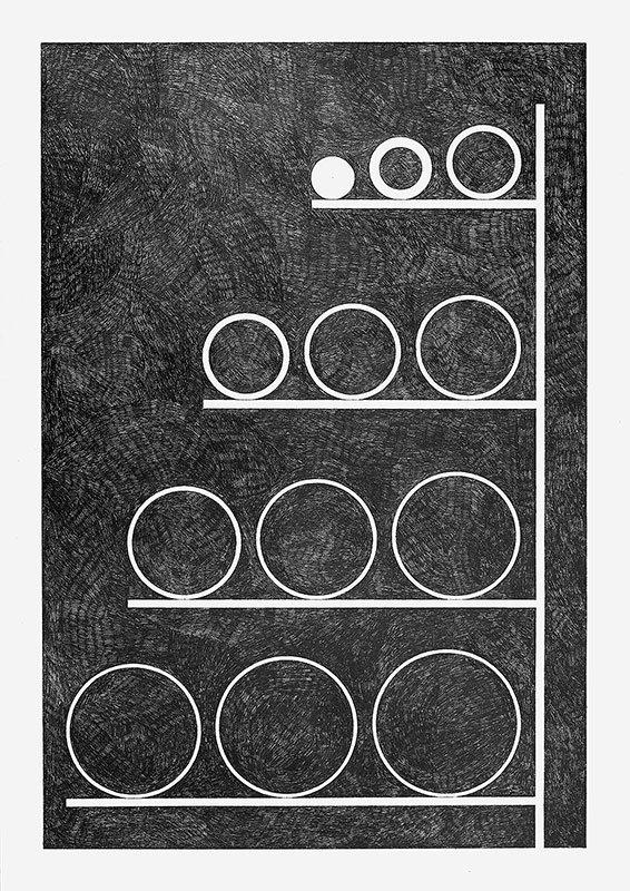 Henrik Menné: Uden titel, 2012, blyant på papir, 84 x 59,4 cm. Foto: Alec Due.