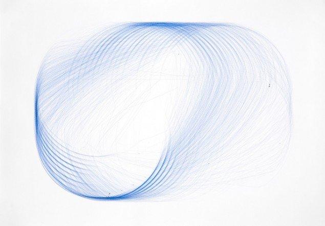 Henrik Menné: Uden titel (Tegning fra Tegnemaskine), 2007, kuglepen på papir, ca. 70 x 100 cm. Foto: KK-F.