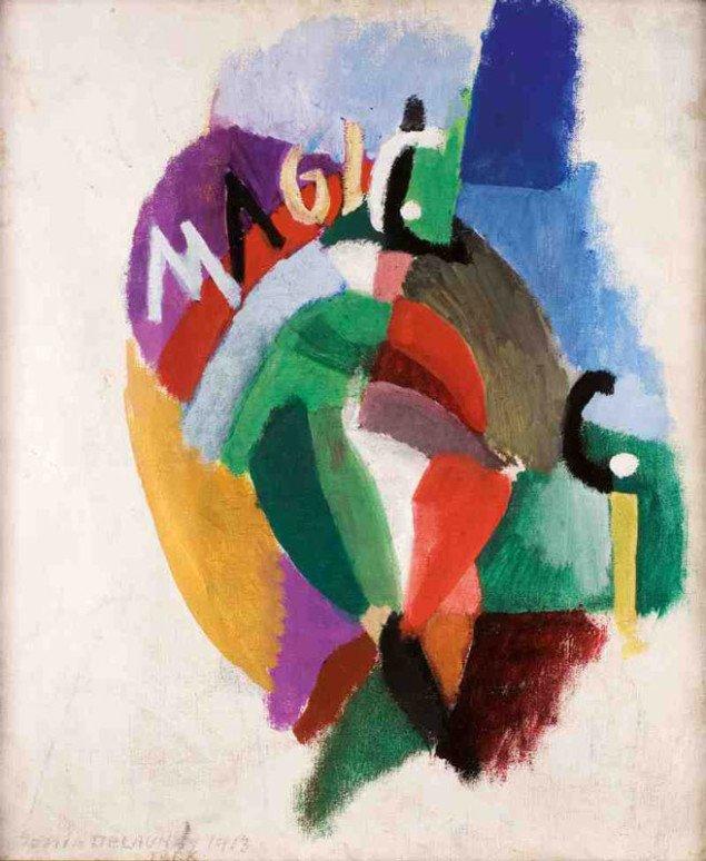 Tango-Magic-City, Sonia Delaunay, 1913. Med sin mand, Robert, udviklede Sonia Delaunay orfismen, hvor farverne skaber dynamik og bevægelse. (Pressefoto)