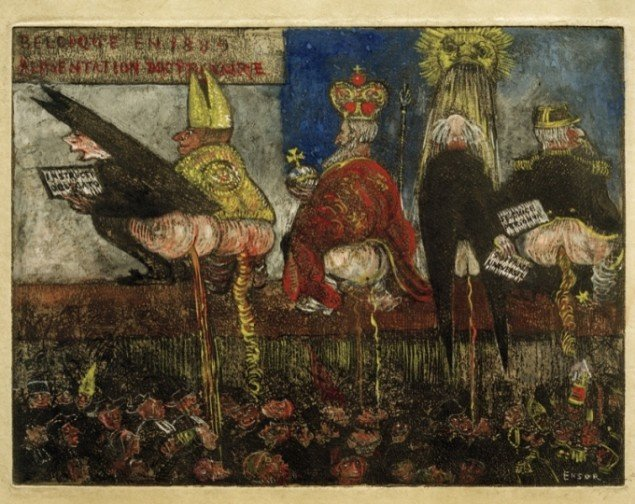 James Ensor: Alimentation doctrinaire [Doktrinære ernæring], 1889-95, håndkoloreret radering, 180 x 238 mm, Los Angeles County Museum of Art. Pressefoto.