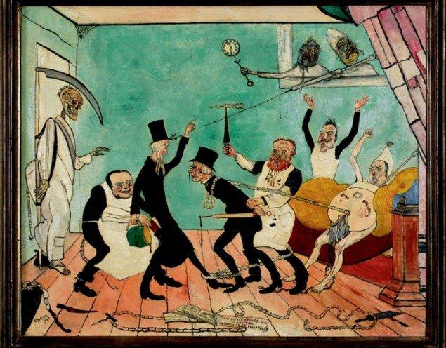 James Ensor: Les mauvais Médicins [De dårlige læger], 1892 olie på træ, 50 x 61 cm, Université libre de Bruxelles. Pressefoto.