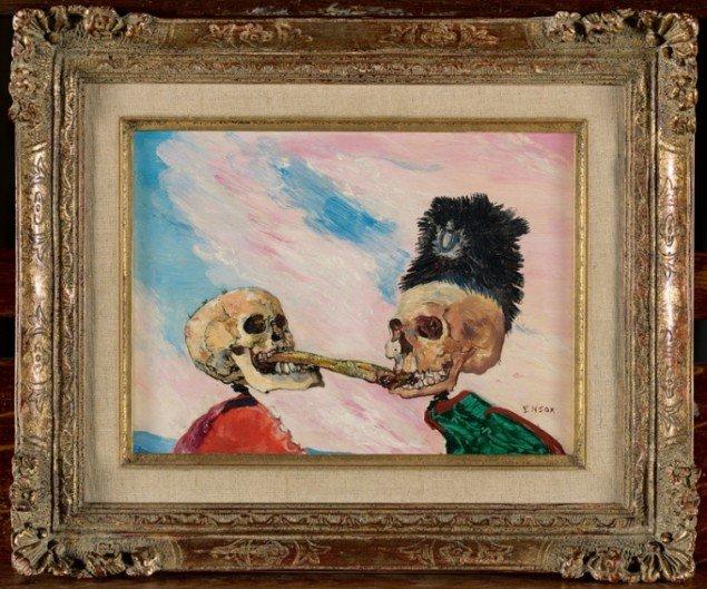 James Ensor: Squelettes se disputant un hareng saur [Skeletter i kamp om en marineret sild], 1891, olie på træ, 16 x 21 cm, Koninklijk Museum voor Schone Kunsten. Pressefoto.