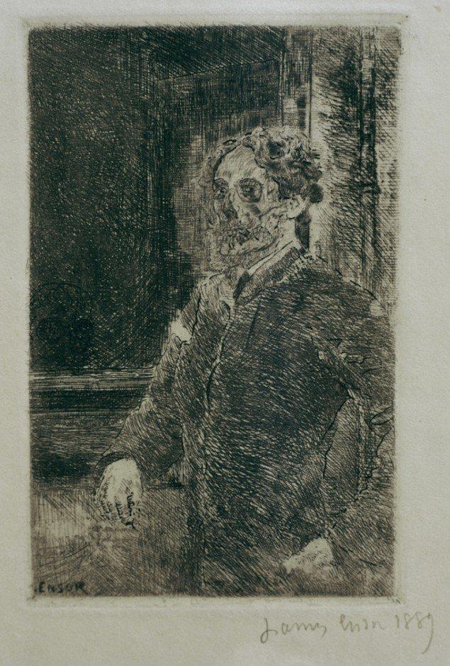 James Ensor: Mon portrait Squelettisé [Mit skeletterede portræt], 1889, radering, 116 x 75 mm, Mu.ZEE, Oostende. Pressefoto.