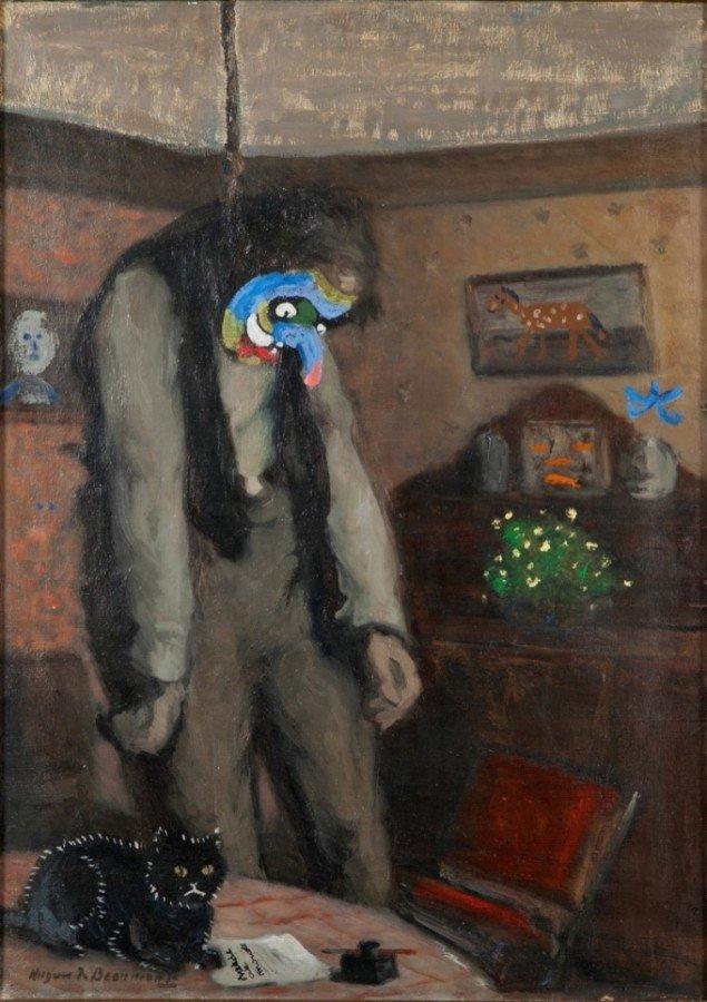 Asger Jorn: Ainsi on s'ensor [Ud af denne verden – efter Ensor], 1962, olie på lærred, 60,5 x 43 cm, Museum Jorn, Silkeborg. Pressefoto.