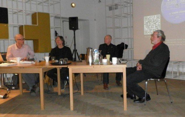 Fra debatten om De Humine Urbano. Fra venstre Lars Bang Larsen, Torsten Olafsson, Finn Olafsson og Mikkel Scharff. Foto: Kristian Handberg.