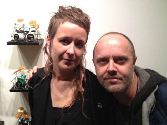 Rosa Eken og Lars Ulrich, fernisering HIT THE LIGHTS!, Unspeakable Projects, San Francisco, USA. Pressefoto.