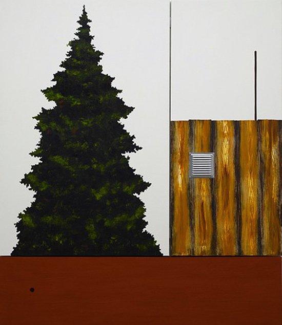 Leonard Forslund: Bug Unit, fra serien Wood Nation, 2008 Akryl og falurød på lærred, galvaniseret gitter. 199 x 166 cm. Pressefoto.