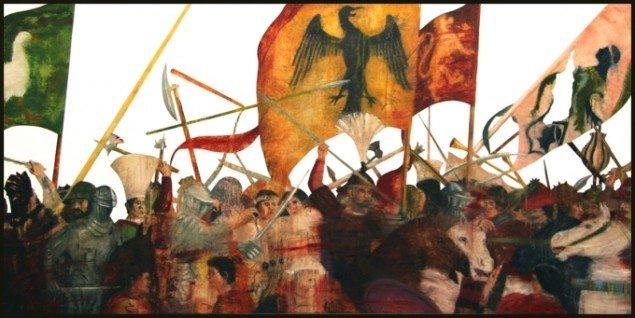 Leonard Forslund: Transsegment / Piero della Francesca; Battaglia di Eraclio e Cosroè, 2002, 85 x 170 cm. Pressefoto.