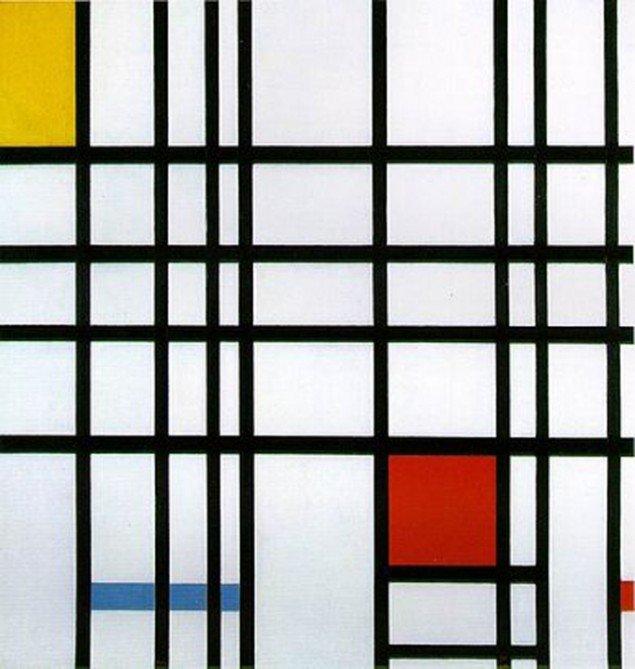 Man gør udstrakt brug af balanceevnen, når man sanser et Mondrian-billede, hvor de farvede felter opfattes som mere tungtvejende end de tomme. (Foto: wikipedia/Fair Use)