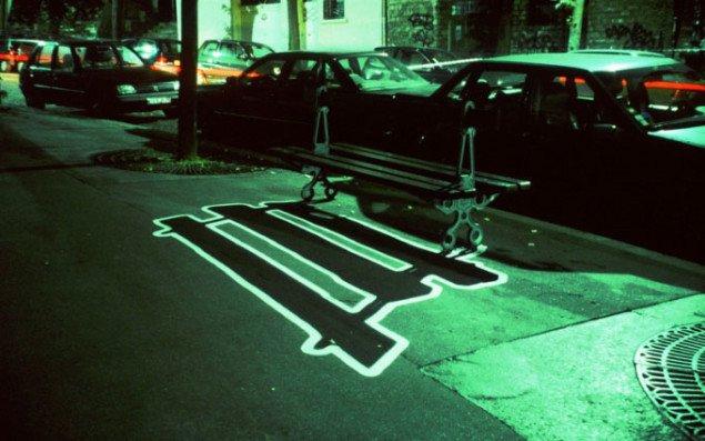 Elektrisk Skygge – Offentlig bænk, Paris, 2000. Pressefoto