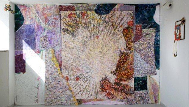 Friheden lurer bag tapetet, 2012, olie på lærred, akvarel, 265 x 405 (+7) cm. Pressefoto.