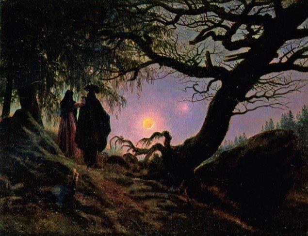 Caspar David Friedrich: Mand og kvinde betragter månen, ca. 1830-35. Pressefoto.