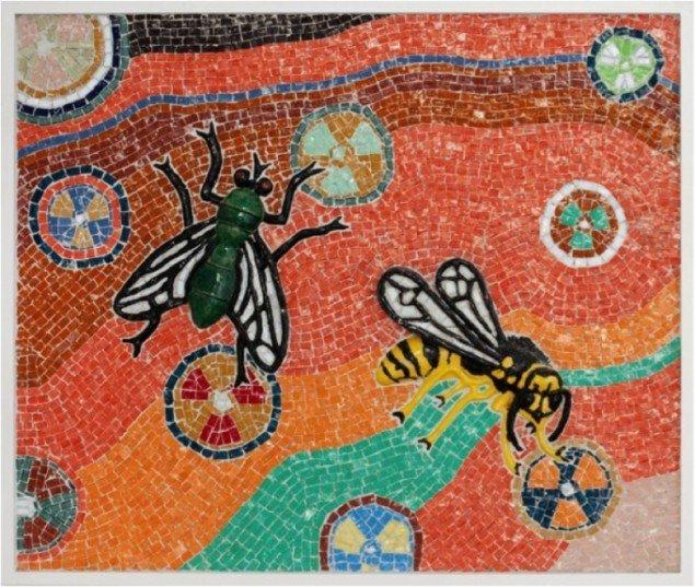Insekt mosaik, 2011, keramik og glasmosaik, 70 x 83 cm, Pressefoto.