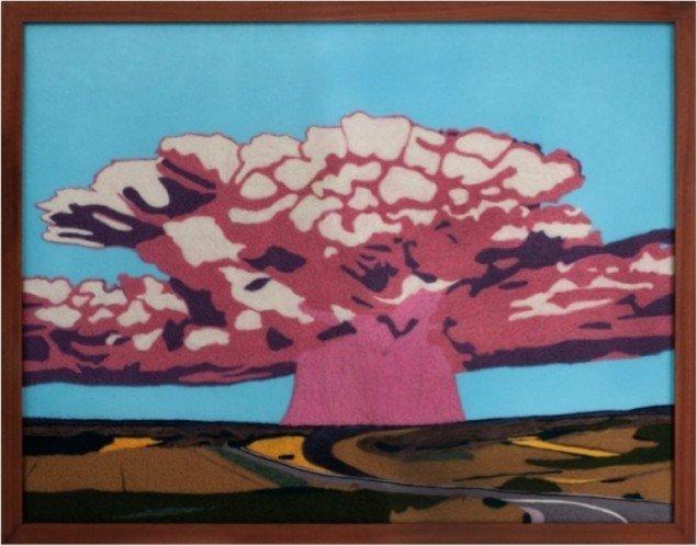 Nuclear landskab, 2011, filt, 79 x 101 cm. Pressefoto.