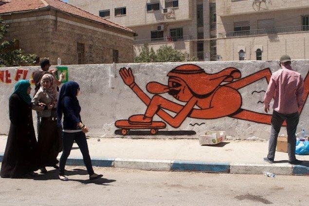 Majd Abdul Hamid og HuskMitNavn i Ramallah. Foto: Bassam al-Mohor