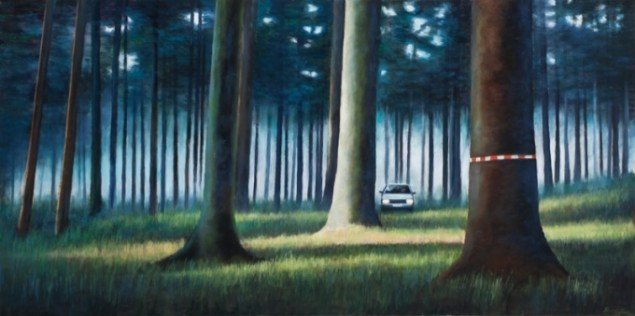 Secret moment, 2009, olie på lærred, 70 x 140 cm. Pressefoto.