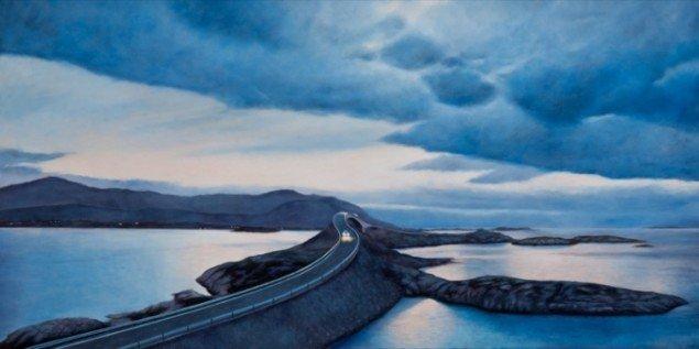 Route Atlantic Blue, 2012, olie på lærred, 100 x 200 cm. Pressefoto.